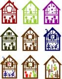 Reeks kleurenplattelandshuisjes Royalty-vrije Stock Afbeelding