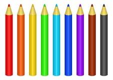 Reeks kleurenpotloden Stock Afbeeldingen