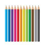 Reeks kleurenpotloden Stock Afbeelding