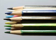 Reeks kleurenpotloden Royalty-vrije Stock Afbeeldingen