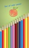 Reeks kleurenpotloden Royalty-vrije Stock Foto's