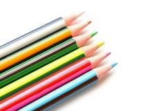 Reeks kleurenpotloden op wit Royalty-vrije Stock Foto's