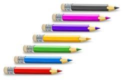 Reeks kleurenpotloden voor tekening Stock Fotografie