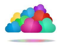 Reeks kleurenwolken - Wolk gegevensverwerkingsconcept Stock Afbeelding