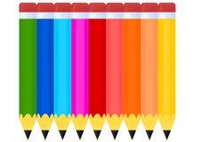 Reeks kleurpotloden royalty-vrije illustratie