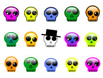 Reeks kleurrijke 3d schedelknopen, symbolen of tekens stock illustratie