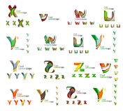 Reeks kleurrijke abstracte brieven collectieve emblemen Royalty-vrije Stock Foto