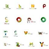 Reeks kleurrijke abstracte brieven collectieve emblemen Stock Foto