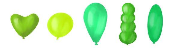Reeks kleurrijke ballons, digitale illustratie, verschillende kleuren royalty-vrije illustratie