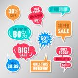 Reeks kleurrijke bellen van de de ballontoespraak van verkoopetiketten Royalty-vrije Stock Foto