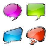 Reeks kleurrijke bellen van de glastoespraak Stock Fotografie