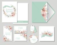 Reeks Kleurrijke bloemen die de kaart van de Huwelijksuitnodiging begroeten Minimalistisch Concept Royalty-vrije Stock Afbeeldingen
