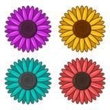Reeks kleurrijke bloemen Vector royalty-vrije illustratie