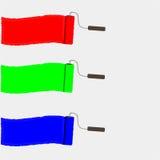 Reeks kleurrijke borstels van de verfrol RGB vectorillustratie Royalty-vrije Stock Afbeelding