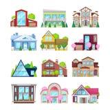 Reeks kleurrijke buitenhuizen, familieplattelandshuisjes, herenhuisrecreatie, hotels vector illustratie