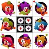 Reeks kleurrijke clownportretten Stock Afbeeldingen