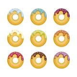 Reeks kleurrijke die donuts op witte achtergrond wordt geïsoleerd De hoogste inzameling van Weergevendonuts in heldere glans vector illustratie