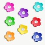 Reeks kleurrijke document bloemen Stock Afbeelding