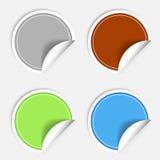 Reeks kleurrijke document stickers op witte achtergrond De ronde sticker etiketteert zegel Vecrorsticker Stock Foto