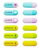 Reeks download en wolken gegevensverwerkingsknopen Stock Foto