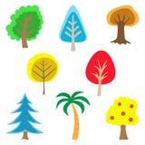 Reeks Kleurrijke Eenvoudige Bomen Royalty-vrije Stock Foto's