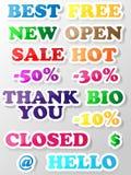 Reeks kleurrijke etiketten en stickers. Royalty-vrije Stock Afbeelding
