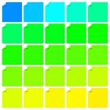 Reeks kleurrijke etiketten met gevouwen hoek Stock Foto's