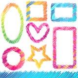 Reeks Kleurrijke Frames Doodled Stock Foto's