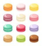 Reeks kleurrijke Franse die makaronkoekjes op wit wordt geïsoleerd Vector illustratie stock illustratie