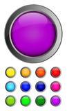 Reeks kleurrijke geïsoleerde glanzende vectorwebknopen Stock Afbeeldingen