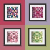 Reeks kleurrijke geometrische kaders van driehoekspatronen Stock Fotografie