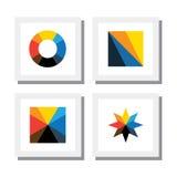 Reeks kleurrijke geometrische vormen van traingle, cirkel, vierkant en Stock Foto's