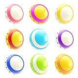 Reeks kleurrijke glanzende geïsoleerde knoopmalplaatjes Stock Foto
