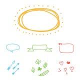 Reeks kleurrijke hand-drawn vectorgrenzen, kaders en ontwerpelementen Stock Fotografie