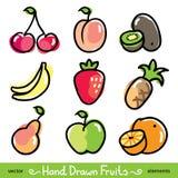 Hand getrokken vruchten Stock Foto's