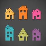 Reeks kleurrijke huizenpictogrammen Royalty-vrije Stock Foto's