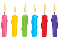 Reeks kleurrijke kaarsen Stock Foto