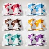 Reeks kleurrijke Kaarten van de Wereld Royalty-vrije Stock Fotografie