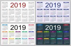 Reeks kleurrijke kalenders 2019 royalty-vrije illustratie