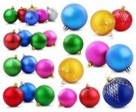 Reeks kleurrijke Kerstmisballen Stock Afbeeldingen