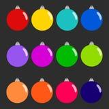 Reeks kleurrijke Kerstmisballen De decoratie van Kerstmis Stock Afbeeldingen