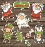 Reeks kleurrijke Kerstmiskarakters en decoratie Stock Afbeelding