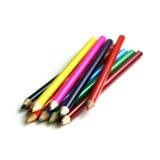 Reeks kleurrijke kleurpotloden Royalty-vrije Stock Foto's