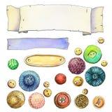 Reeks kleurrijke knopen en etiketten stock fotografie