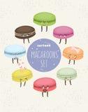 Reeks kleurrijke koekjesmakarons Leuk Cupcake-Karakter Vector illustratie Stock Afbeeldingen