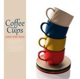 Reeks kleurrijke koppen Stock Foto