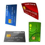 Reeks kleurrijke kredietbetaalpassen Stock Afbeeldingen