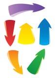 Reeks kleurrijke kunstpijlen Stock Afbeeldingen