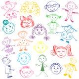 Reeks Kleurrijke Leuke Jonge geitjes Grappige kinderentekeningen De stijl van de schets Royalty-vrije Stock Foto's