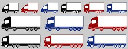 Reeks kleurrijke leveringsvrachtwagens Royalty-vrije Stock Afbeeldingen